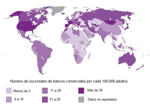 Número de sucursales de bancos comerciales por cada 100,000 adultos